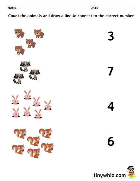 Free Printable Count And Match Animals Math Worksheet