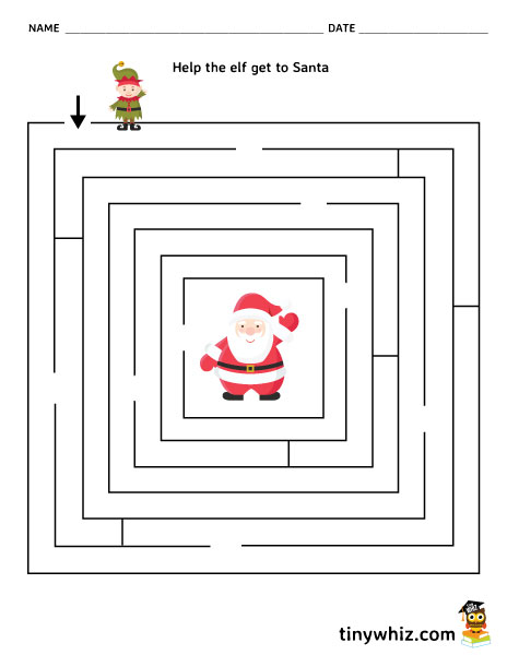 picture about Christmas Maze Printable titled Cost-free Printable Xmas Maze Worksheet For Youngsters Very little Whiz