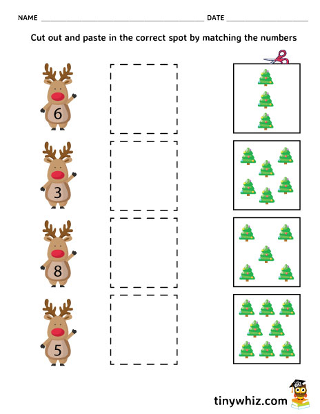Free Christmas Count And Cut Out Worksheet
