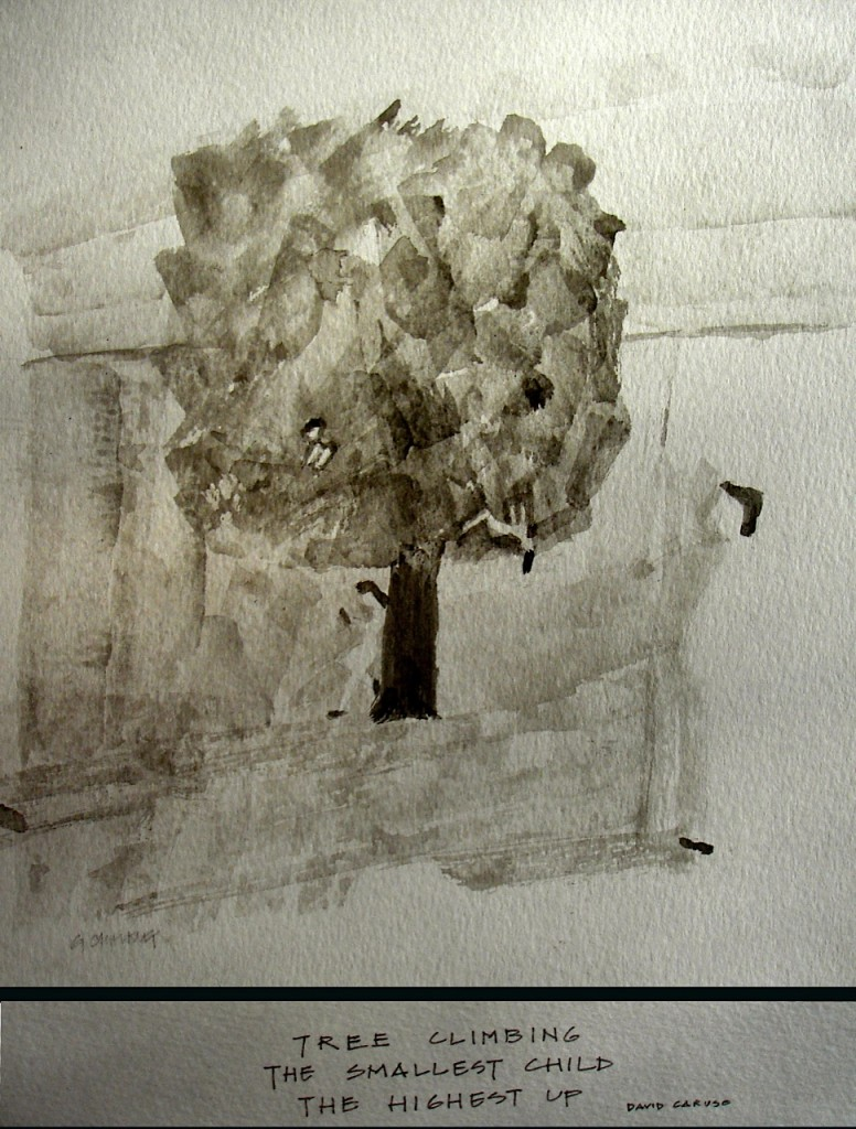 Tree climbing: haiga by  Geoffrey Chalkley, haiku by David Caruso