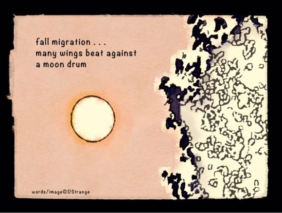 Haiga with a watercolor showing the moon and a stylized tree, or perhaps a cloud