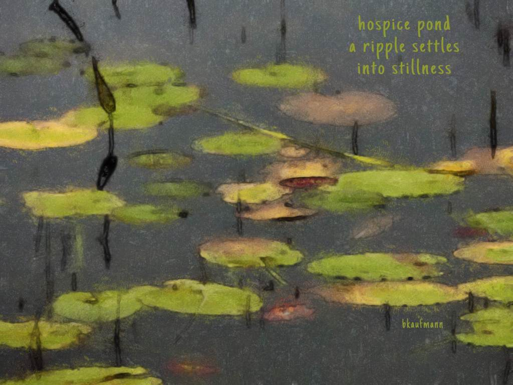 watercolor painting showing lily pads on the surface of still water