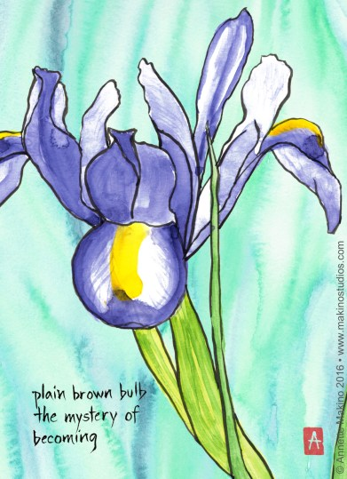 watercolor painting of a lily in full bloom with the text of a haiku in the lower left