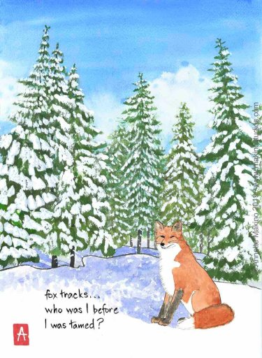 watercolor painting of snow-covered evergreens with a fox in the foreground - and a haiku superimposed on the snowy ground in front of the fox