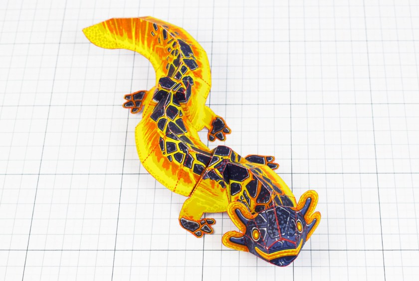 Fold Up Toys Lava Lizard Monster Dragon Paper Toy