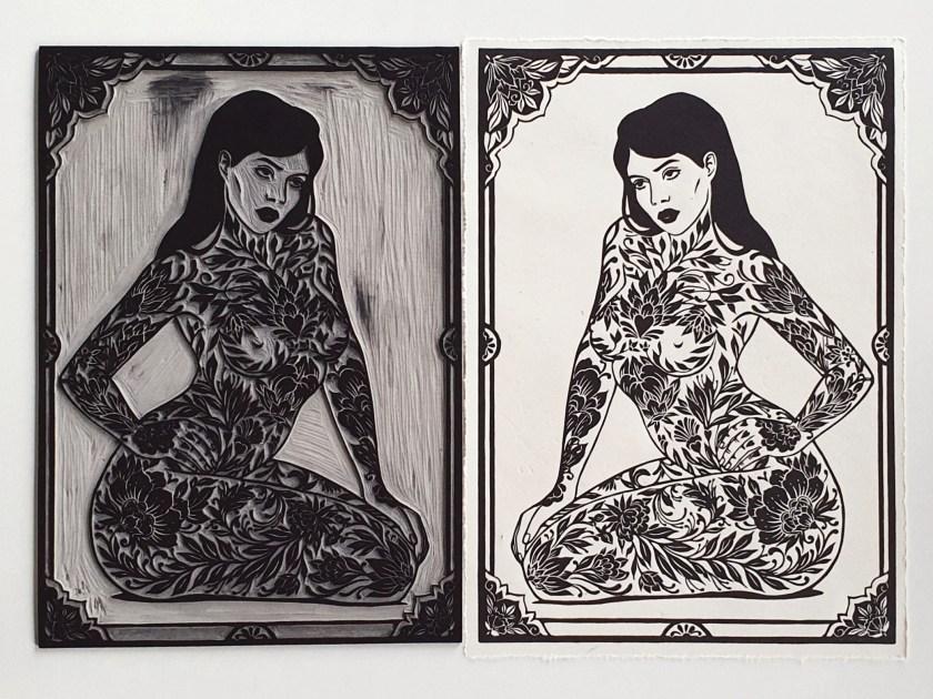 Maarit Hanninen Lady in Black linocut print