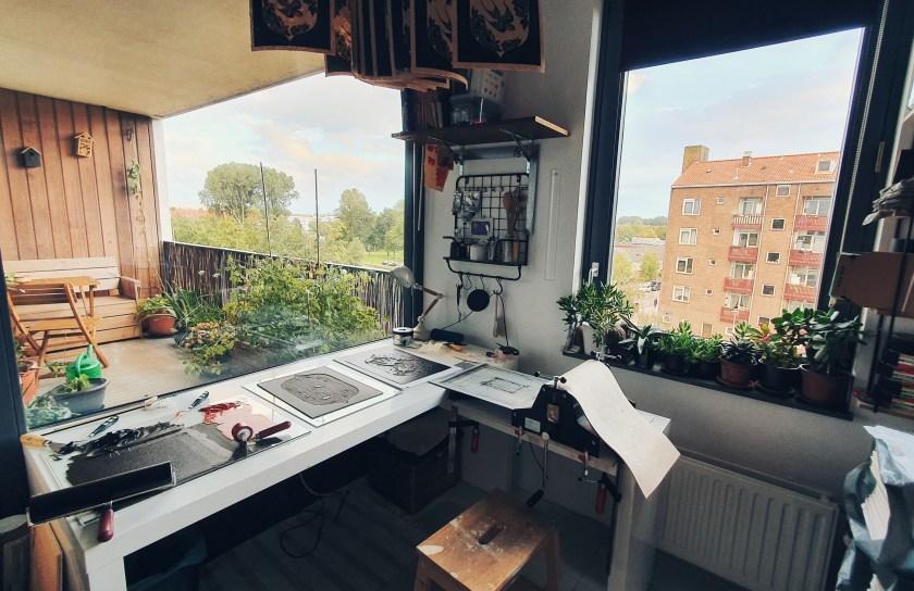 Maarit Hanninen linocut workspace