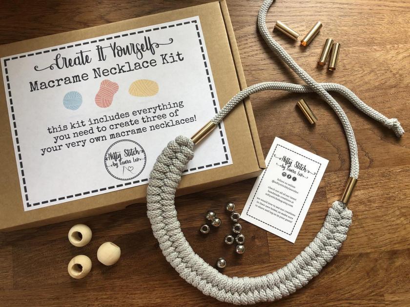 Macrame necklace kit from Nifty Stitch