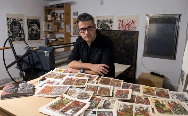 Tomas Hijo linocut printmaking workshop
