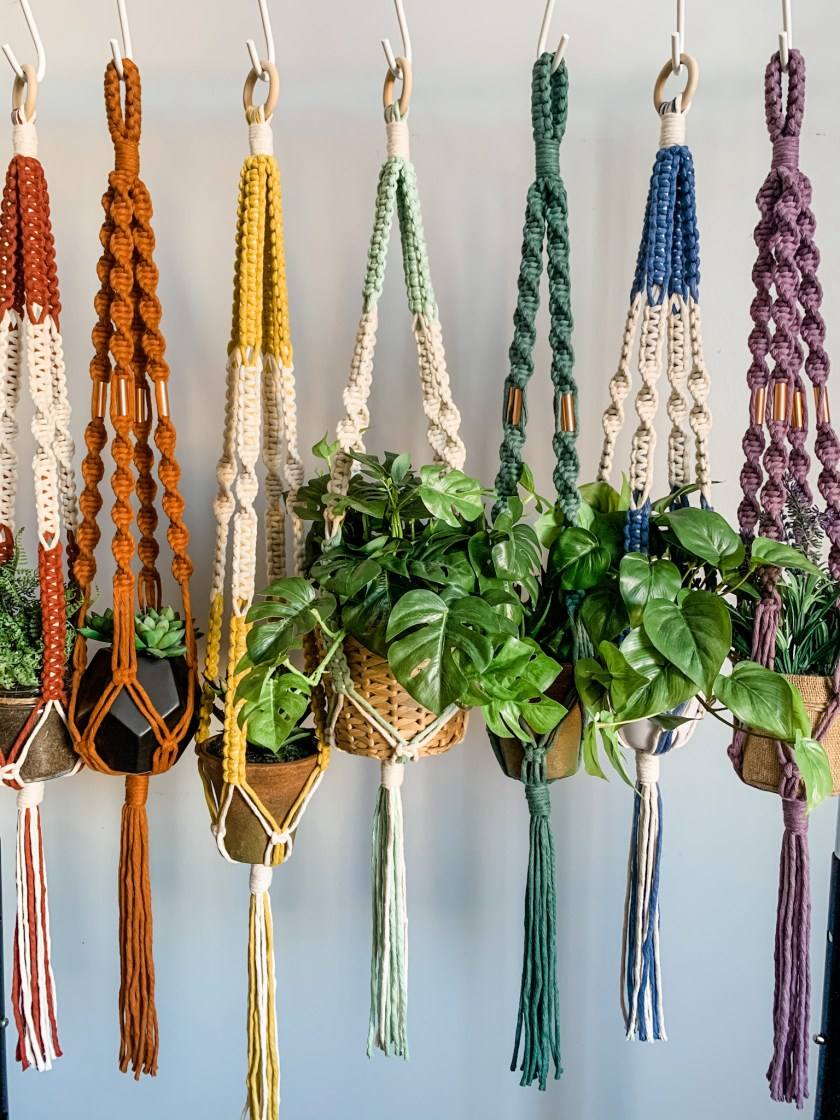 Alisha Ing iWouldRatherKnot colorful macrame plant hangers