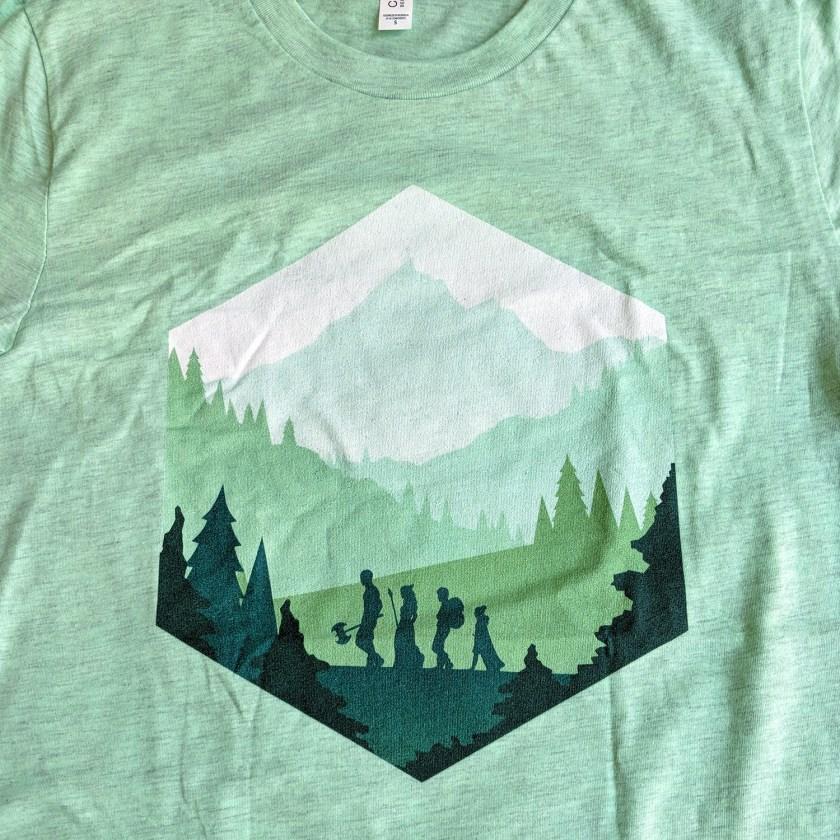 Paola's Pixels Adventure D20 shirt close