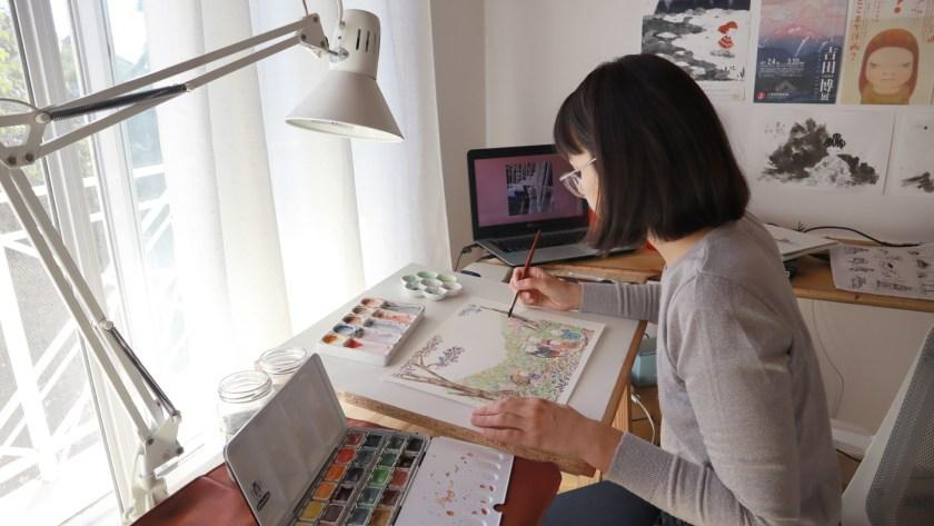 Flor Kaneshiro watercolor paint studio