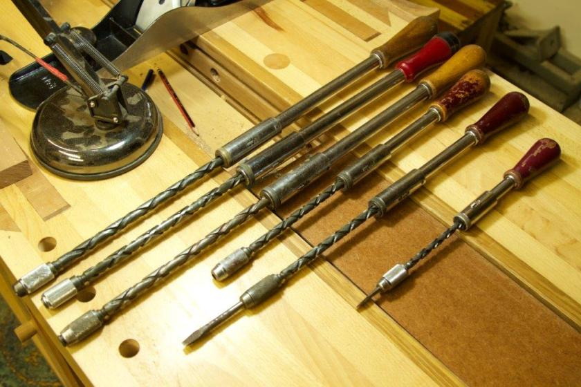 Yankee Screwdriver collection on bench