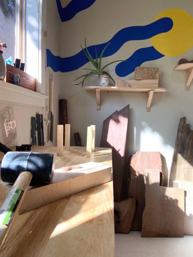 Anya Walker carving workbench