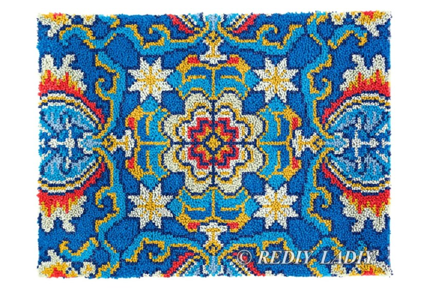 Blue mandala latch hook kit