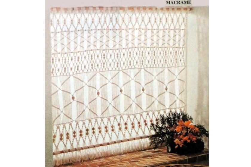 70s macrame curtain pattern knitting nostalgia