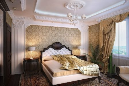 Лепнина на потолках и стенах классической спальни