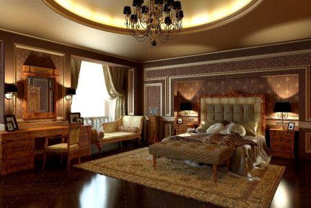 Большая спальня в классическом стиле