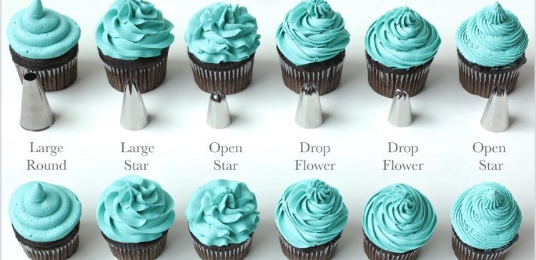 Piping chart for cupcakes.