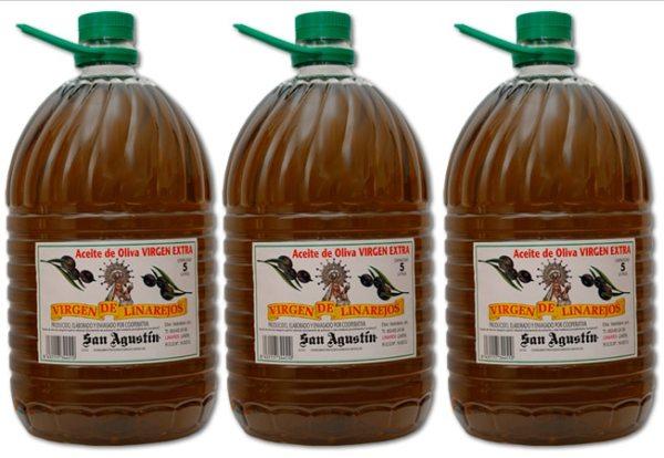 aceite linarejos, oliva virgen extra 3 x 5 litros