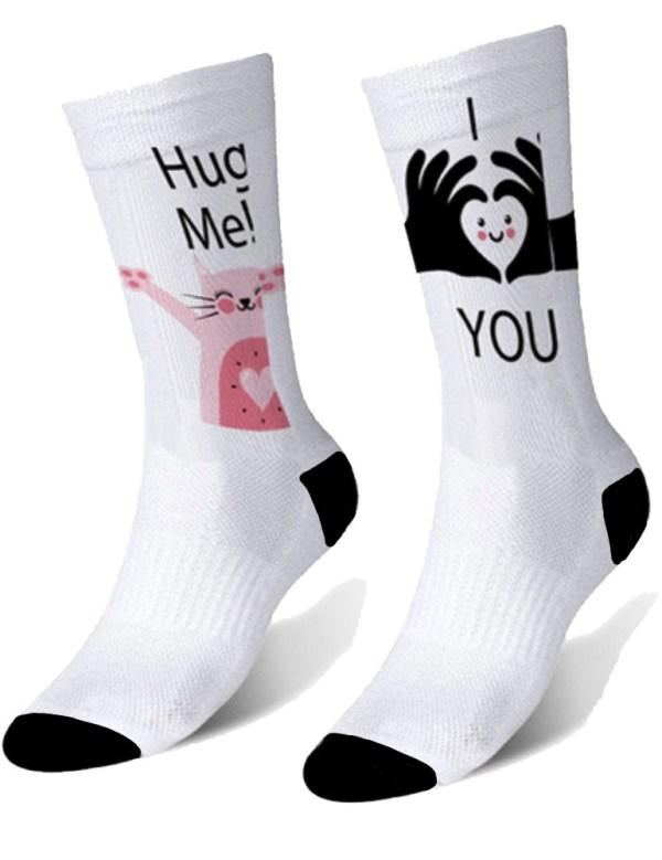 Носки высокие с печатью (черная пятка)