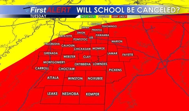 Local Weather Model Lists Possibility Of No School On Tuesday As