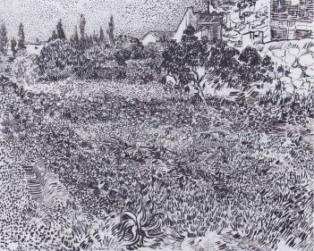 Vincent van Gogh, Year: 1853–1890, Title: Garden with flowers. Retrieved from https://upload.wikimedia.org/wikipedia/commons/thumb/3/3d/Van_Gogh_-_Garten_mit_Blumen.jpeg/1494px-Van_Gogh_-_Garten_mit_Blumen.jpeg