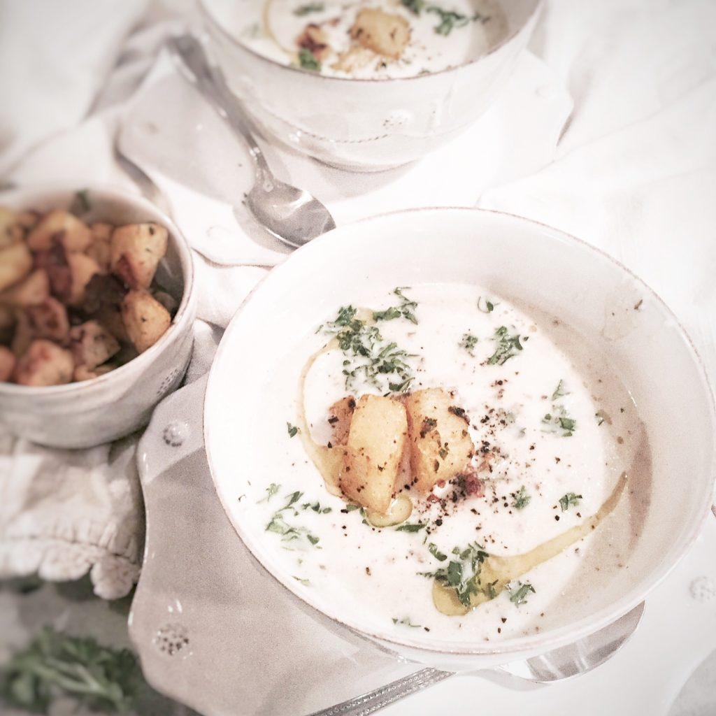 Roasted Cauliflower and Leek Bisque