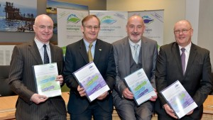 Peter Hynes, Chief Executive of Mayo County Council; Conn Murray, Chief Executive of Limerick City & County Council; Philip Maguire Deputy, Chief Executive of Dublin City Council; and Brendan McGrath, Chief Executive of Galway City Council at the national launch of the draft Regional Waste Management Plans in Galway.