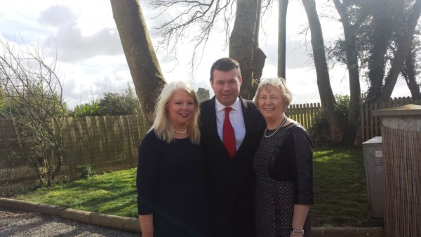 Maeve O Heir, Minister Alan Kelly TD and Mary Fogarty in the back garden of The Cottage in Loughmore.