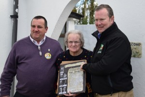 Cllr Martin Browne, Biddy Hayes (Goolds Cross), and Cllr Séamie Morris. Martin & Séamie are presenting a gift to Biddy, who is a long-serving Republican and never misses a vote.