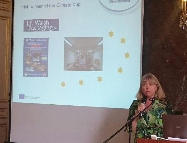 Managing Director of J.F. Walsh packaging Shauna Walsh in Brussles recently at the European Enterprises Climate Cup prize giving ceremony.