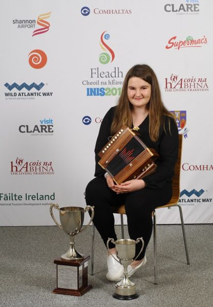 Emma Corbett of Clonmel Tipperary, who came first, in the Melodeon age 15 to 18 category at the 2016 Comhaltas Ceoltóirí Éireann All Ireland Fleadh Cheoil in Ennis. Photograph by Loretto O Loughlin/www.instantimageireland.com.