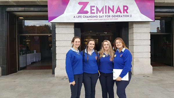 Emily Meagher, Niamh O Brien, Megan Tierney and Eimear O Slattara at  Zeminar (Careers and well- being seminar for Generation Z) which was attended by all the TY, 5th and 6th  year students of St Joseph's Borrisoleigh