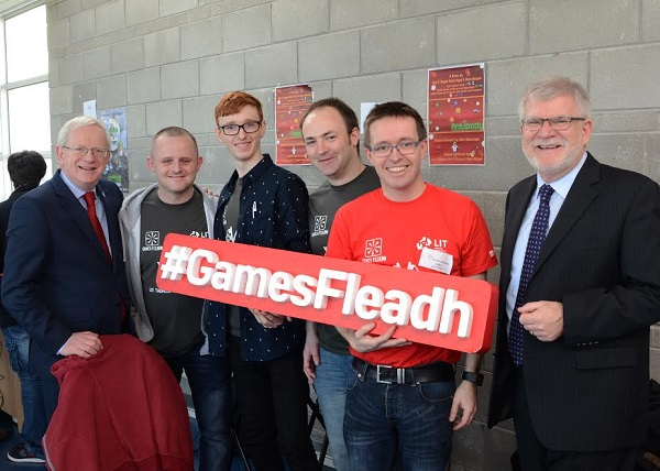 Professor Vincent Cunnane, President of LIT photographed at Games Fleadh 2017 with (left to right) students Brian Ryan, Sean Horgan, and Joe O'Regan; Dr Liam Noonan LIT Games Development Lecturer and Mr. Paschal Meehan, Head of Faculty of Applied Science, Engineering & Technology (ASET).