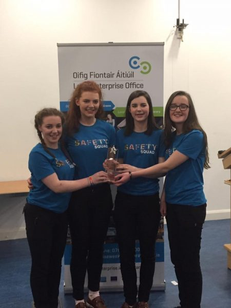 Senior Category Winners: St. Mary's Secondary School Nenagh with their entry 'The Safety Squad', promoted by Marie O'Connell, Ella Kennedy, Ciara Grace and Leah Heffernan