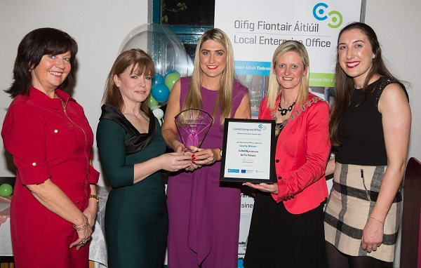 Geraldine Byrne pictured receiving the overall award from Cathaoirleach Siobhan Ambrose at the County Enterprise Awards in Cashel. On left, Rita Guinan, Head of Enterprise, Sinead Carr Director of Services, Tipperary Co Co, Geraldine Byrne, Medskin, Siobhan Ambrose MCC and Aine Byrne, Mediskin.