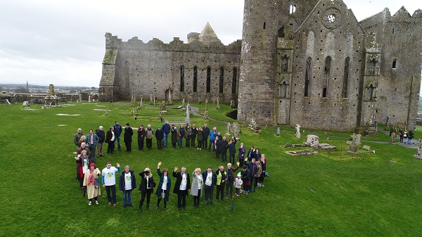 Aerial view of the human '0' at the launch of Zero Waste Cashel