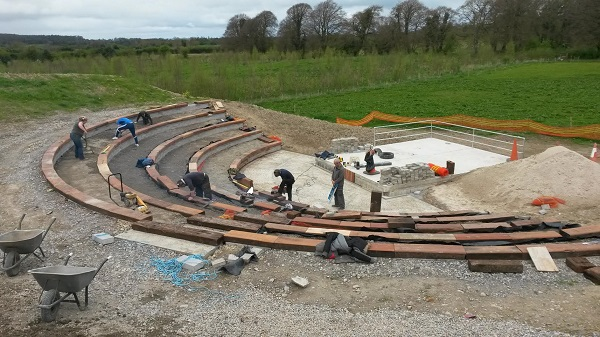 The Cloughjordan community working on the Community Amphitheatre