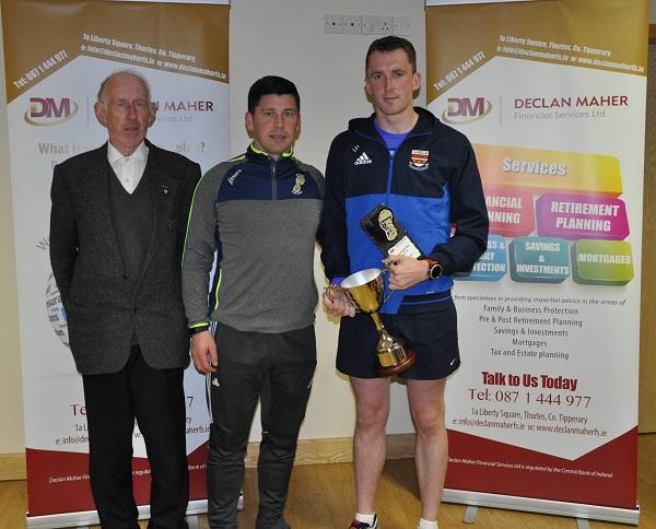Ger Ryan, Declan Maher (Sponsor) and Liam Harty, winner of the Borrisoleigh Mile