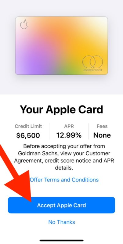 Apple Card approval acceptance