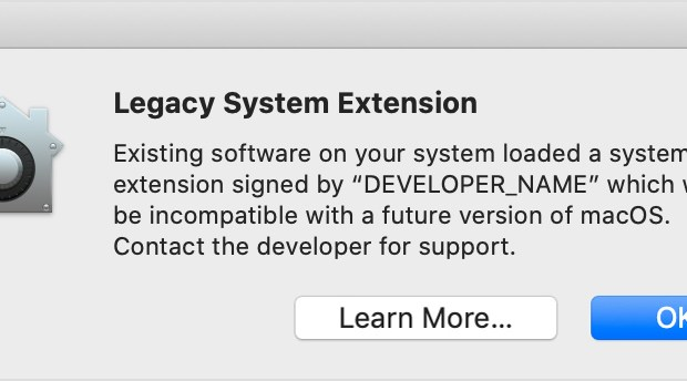 macOS legacy system extension warning