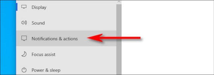 Pilih Notifications & actions