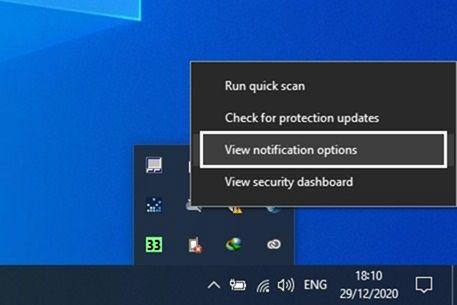 2 klik kanan pada logo windows defender lalu pilih opsi View notification options