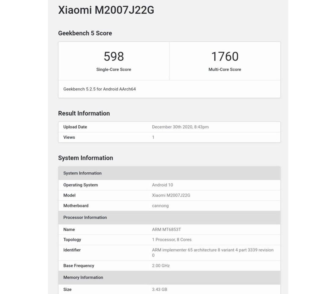 Xiaomi Redmi Note 9T Bocoran