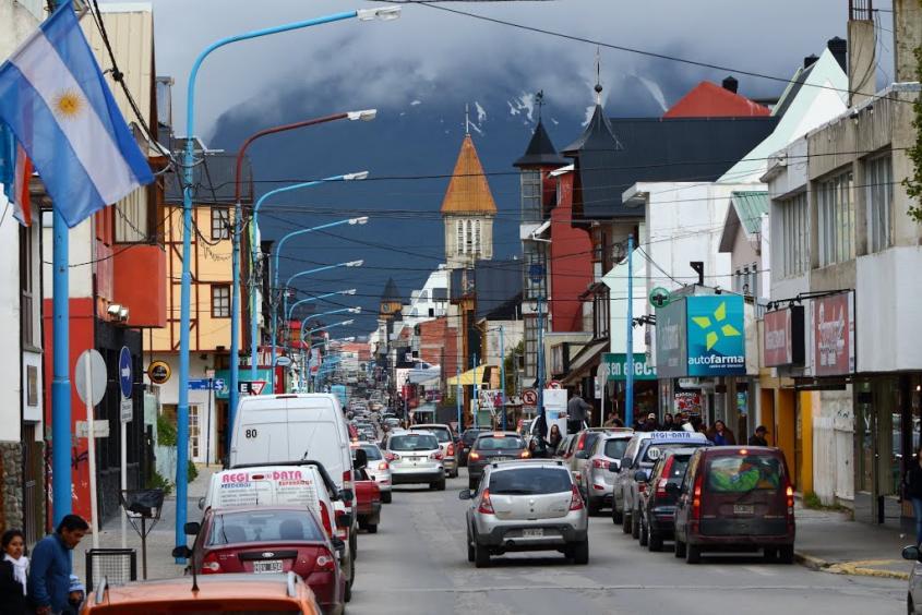 Centro città di Ushuaia nella Tierra del Fuego
