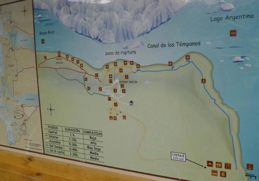 Mappa Ghiacciaio Perito Moreno e lago Argentino