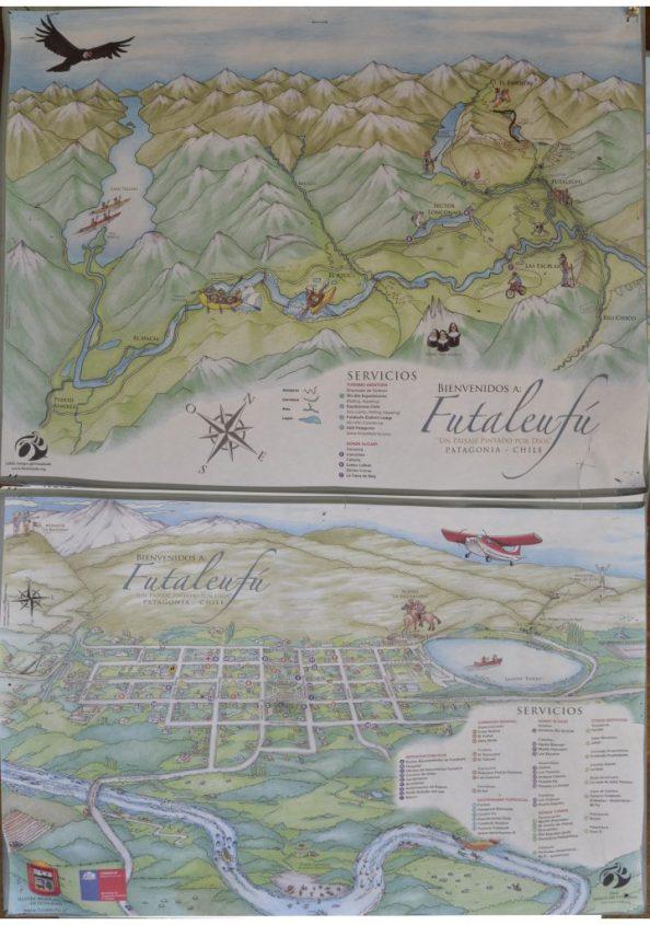 Mappa paese e rafting di Futaleufu in Cile