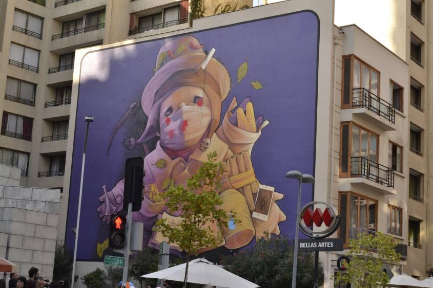Murales dell'Ekeko maschio di Inti a Santiago del Cile