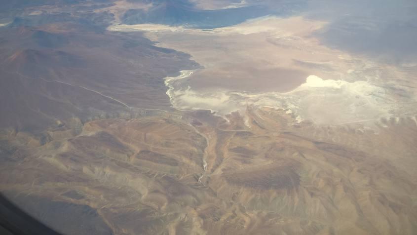 Vista dall'aereo da Santiago del Cile a San Pedro di Atacama